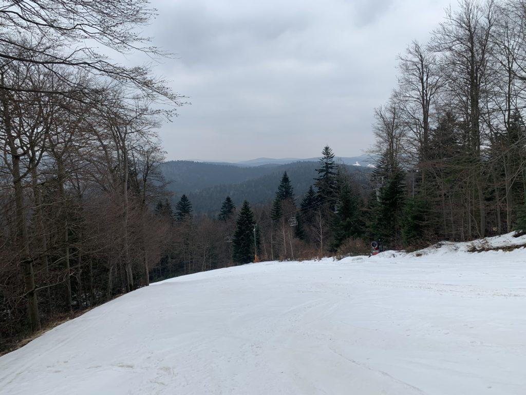 Magura Małastowska - Widok z wyciągu narciarskiego w kierunku Magury Wątkowskiej